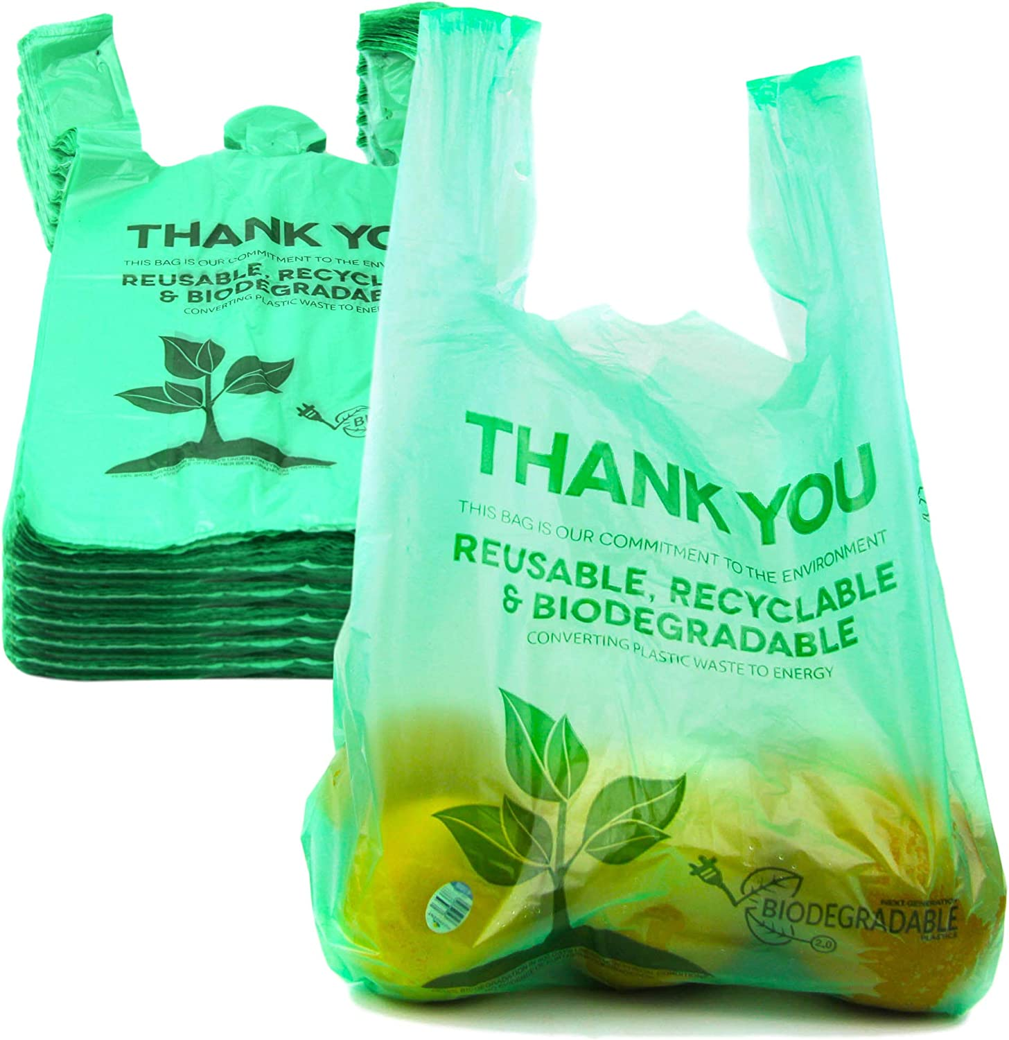 [500 Pack] Biodegradable Reusable Plastic T-Shirt Bag Eco Friendly Compostable Grocery Shopping Thank You Recyclable Trash Basket Bags
