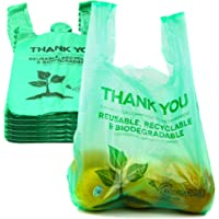 [500 Pack] 1/6 Size Biodegradable Reusable Plastic T-Shirt Bag Eco Friendly Compostable Grocery Shopping Thank You…