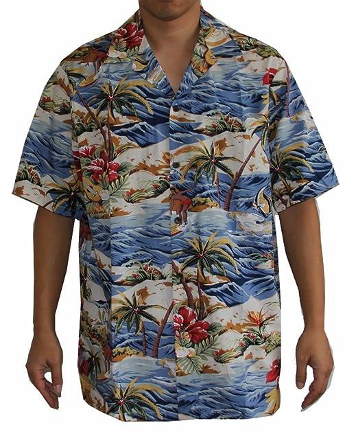 f318e46c Men's Island Surfer Hawaiian Aloha Shirt (3XL, BLUE) at Amazon Men's ...