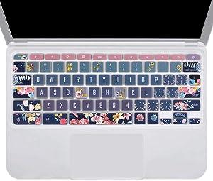 SANFORIN Silicone Keyboard Skin for Acer Chromebook Premium R11 CB5-132T CB3-132 CB3-131, Acer Chromebook R 13 CB5-312T, Acer Chromebook 14 CP5-471, Acer Chromebook 15 CB3-532 CB5-571 C910, Red Flower