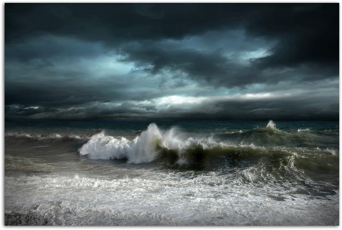 120x80cm Wandbild Meer Ozean Wellen Sturm Wolkenhimmel