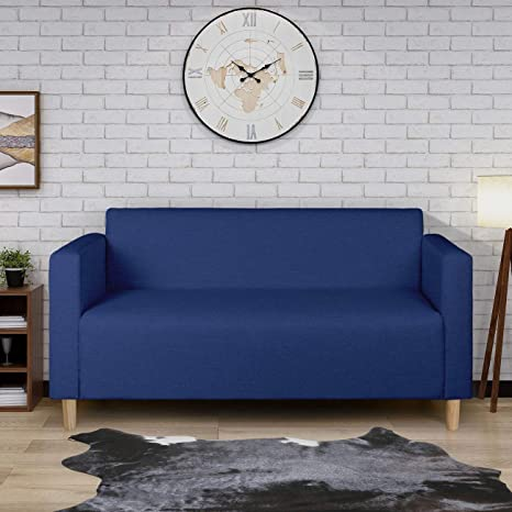 Modern Minimalist Short Back Loveseat Sofa Upholstered Couch Suitable For Living Room Bedroom Office Furniture Total Length 55 Inches Dark Blue