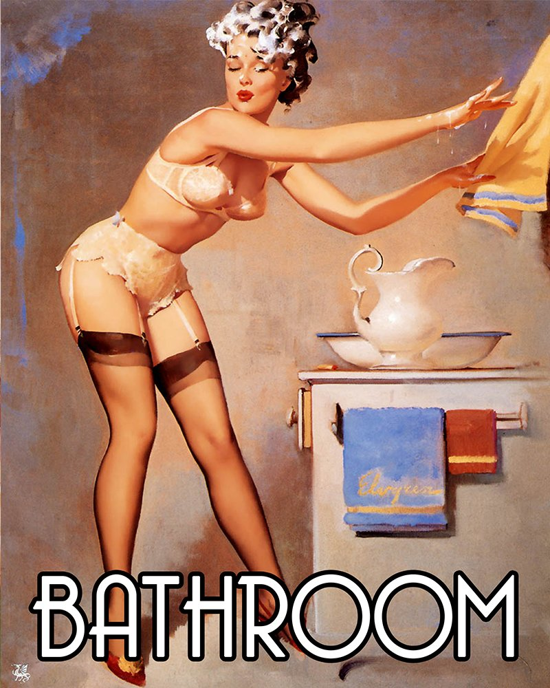 Bathroom Pinup shampoo in face Pin up Girl METAL 6x8inch Wall Sign Plaque Vintage Retro. Bathroom Pinup Bath over flowing Pin up Girl 6x8inch METAL Wall