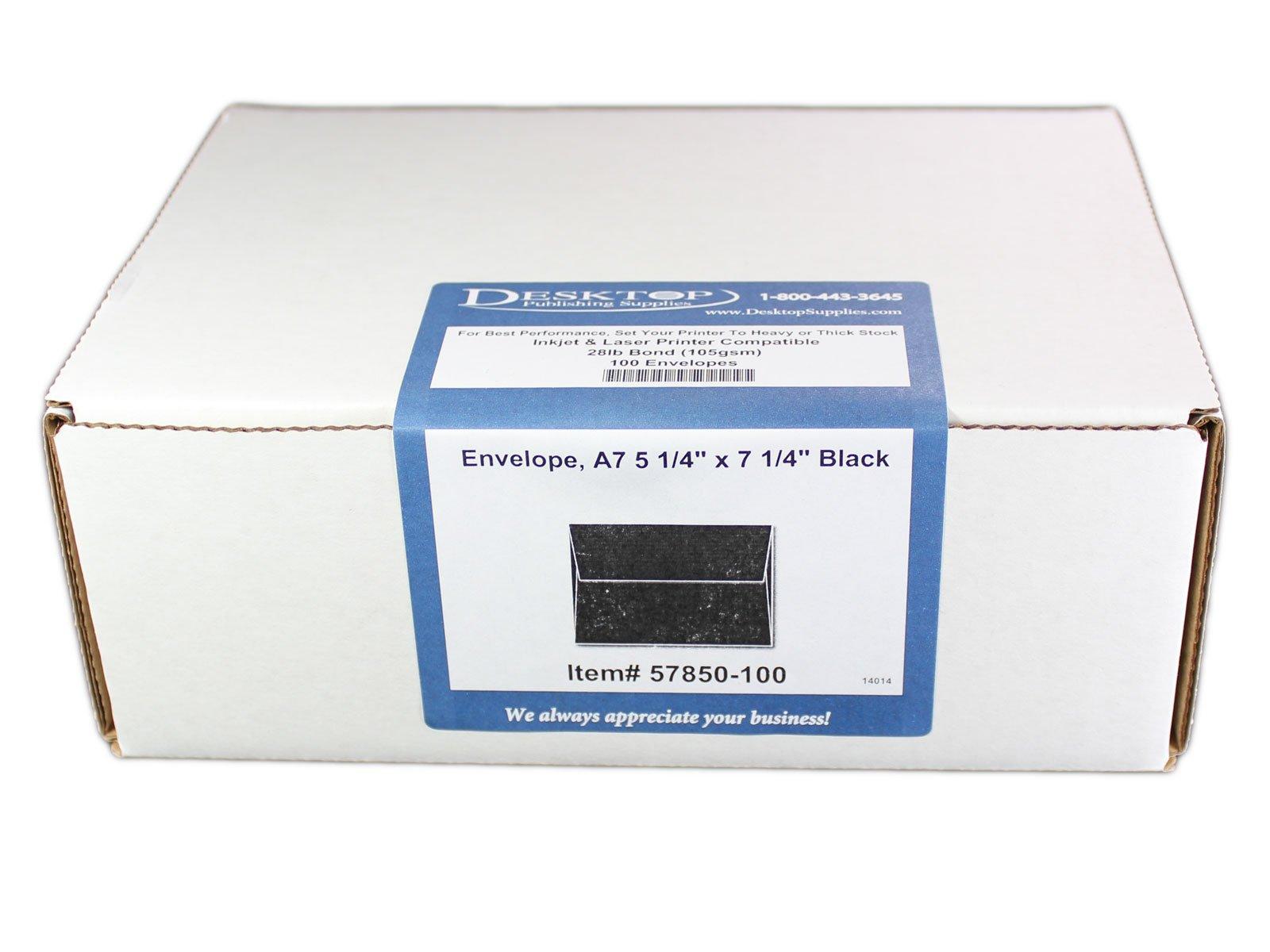 Envelope, A7 5 1/4'' x 7 1/4'' Black - 100 Envelopes