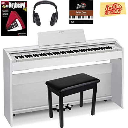 Casio Privia PX-870 Digital Piano - White Bundle with Furniture Bench,  Headphones, Instructional Book, Austin Bazaar Instructional DVD, and  Polishing
