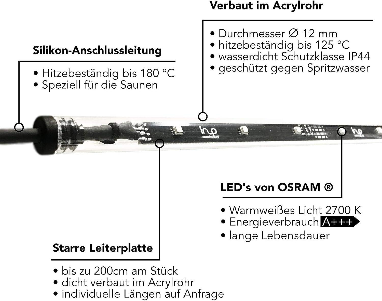 bis 125/°C 1 x 180cm, Dimmbar Sauna-Licht Indirekt SLIA Wasserfest IP44 LED Warm-Weiss 2700K