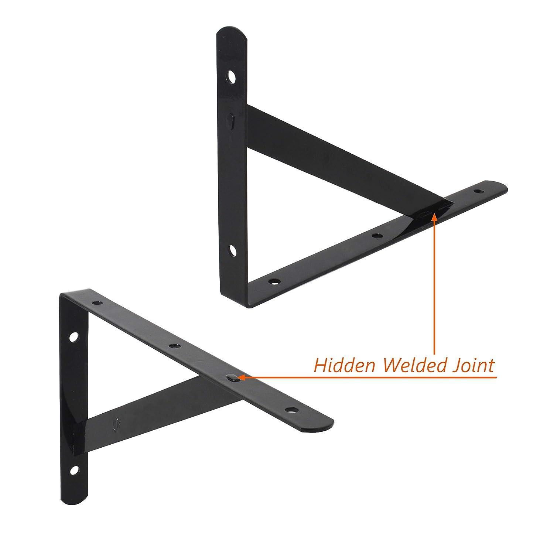 montaje en pared soportes para estanter/ías en /ángulo recto negro triangulares soportes para estantes Soportes para estante de alta resistencia