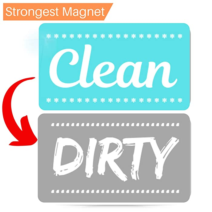 New! Dishwasher Magnet Clean Dirty Sign - Strongest Magnet Double Sided Flip - With Bonus Metal Magnetic Plate - Universal Kitchen Dish Washer Reversible Indicator