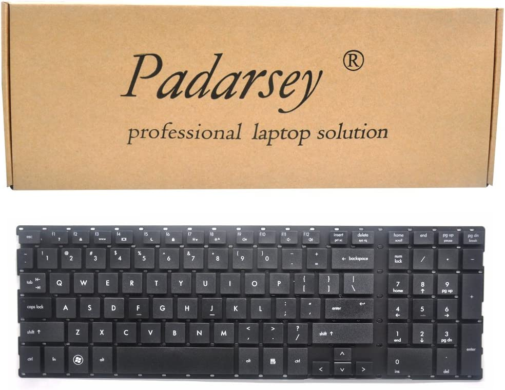 Padarsey Replacement Keyboard Without Frame Compatible for HP ProBook 4510 4510S 4515 4515S 4710S 4750S Series Black US Layout Compatible Part Number 516884-061 538537-061 8037B0037406