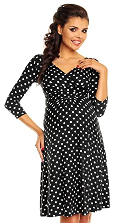 3cc4c976018 Zeta Ville Women s Maternity Wrap V-Neck Polka Dot Dress Summer Spot Dress  017c (