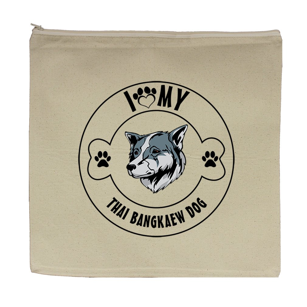 Canvas Zipper Pouch 5.5''X7.5'' I Love Paw My Thai Bangkaew Dogdog Style In Print