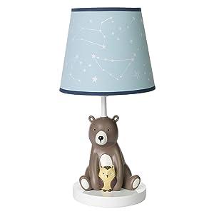 Lambs & Ivy Sierra Sky Blue/Brown Bear Nursery Lamp with Shade & Bulb