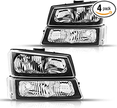 Black Housing Torchbeam Replacement Headlight Assembly for 2003-2007 Chevrolet Silverado 1500//2500//3500//1500HD//2500HD OE # 15199557//10396913