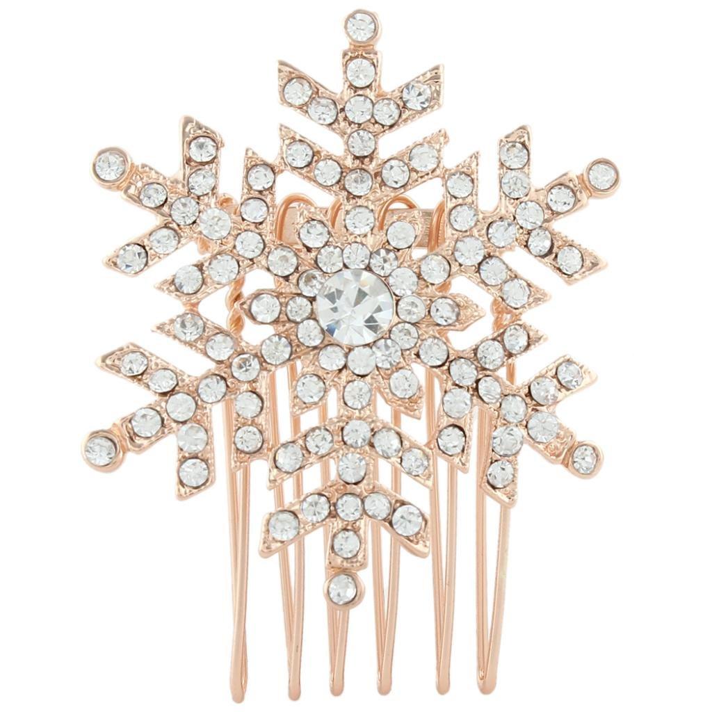 Ever Faith Snowflake Hair Comb Clear Austrian Crystal B00030-2