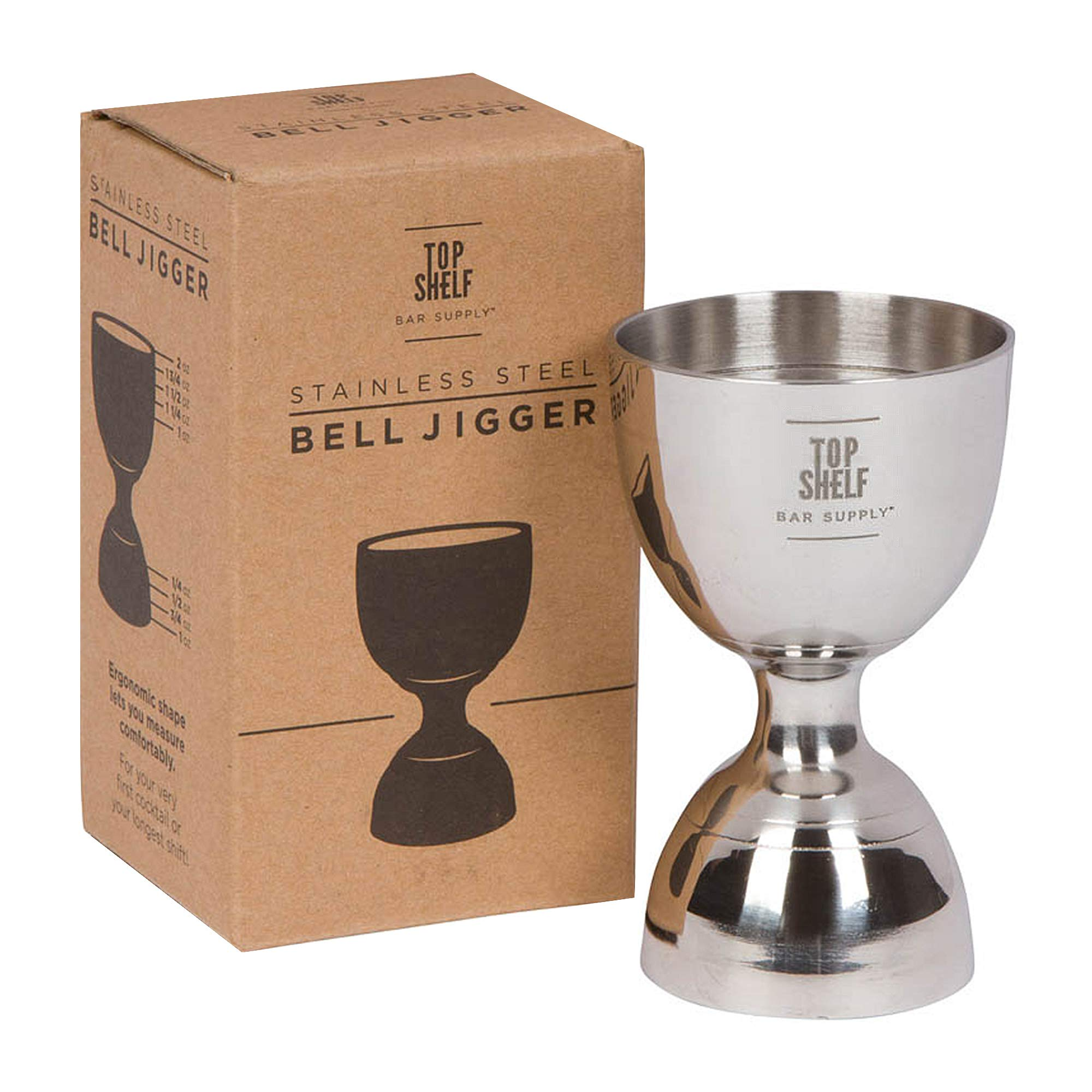 Top Shelf Bar Supply Bell Jigger - Premium Double Cocktail Jigger, 1oz/2oz made from Stainless Steel 304