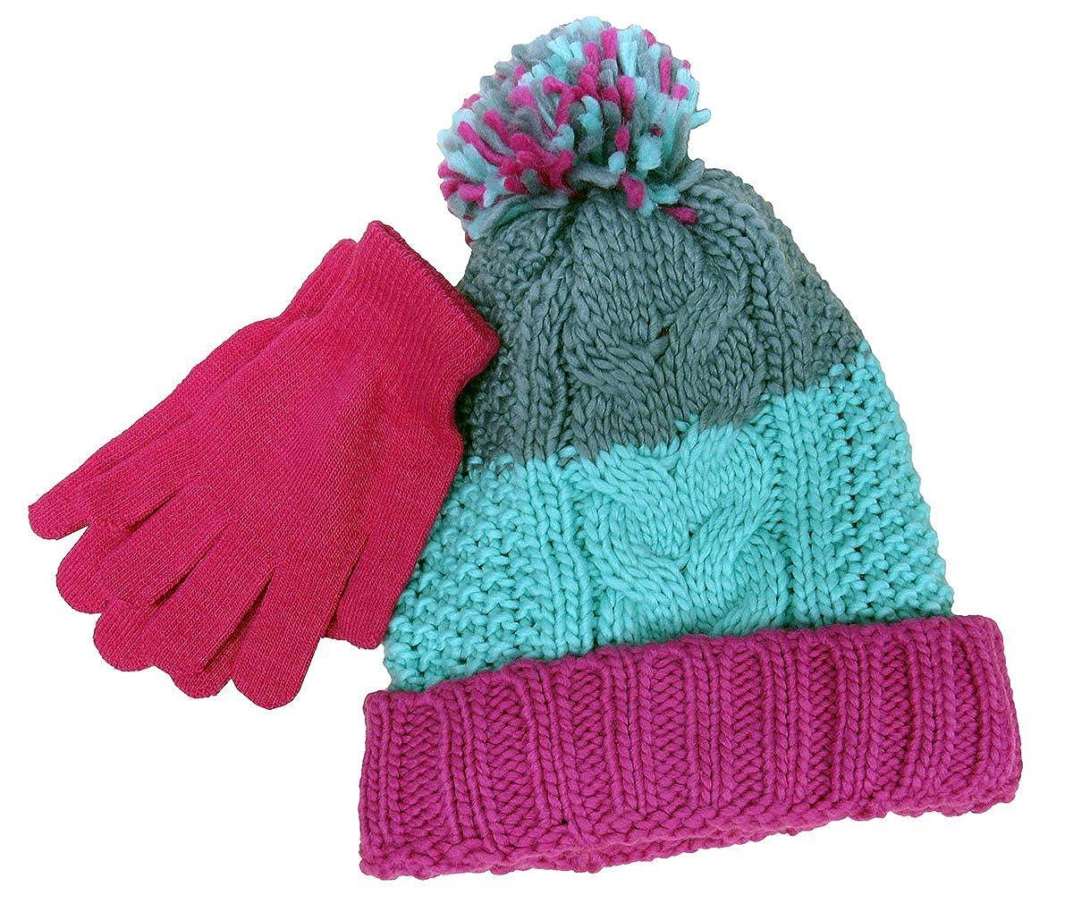 Pom-Pom Hat /& Gloves Pink One Size Berkshire Girls 2Pc
