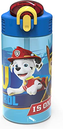 Zak Designs 16oz Kids Durable Plastic Spout Cover and Built-in Carrying Loop, Leak-Proof Water Bottle Design for Travel (16 oz, Paw Patrol Marshall)