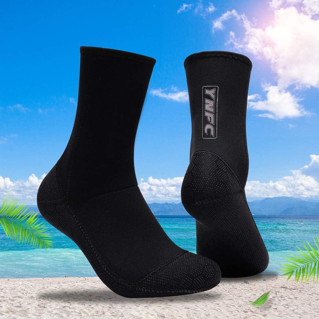 YNFC Diving Socks Neoprene Socks Beach Booties Shoes 3mm Anti-Slip Wetsuit Boots Ultra Premium Water Fin Swim Socks for Beach Swim Boarding Kiteboarding and Water Sports
