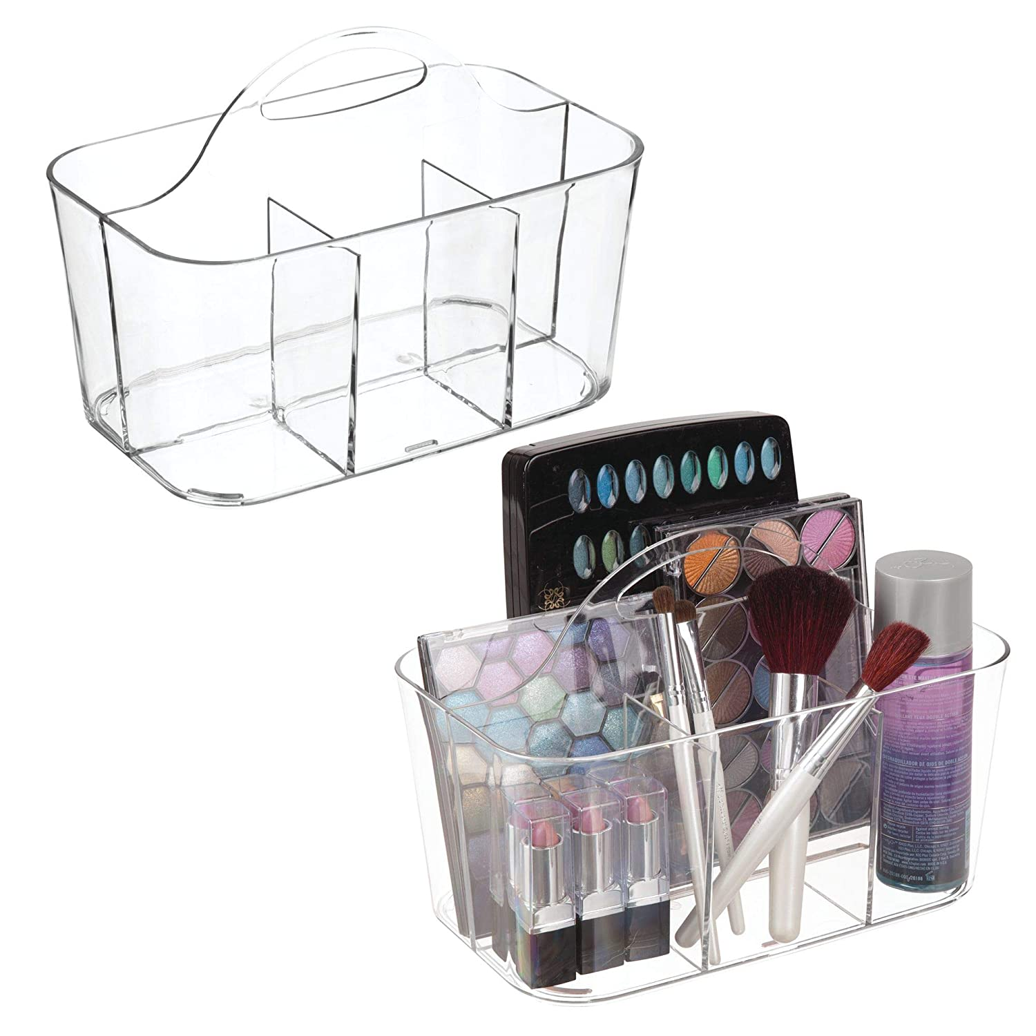 mDesign Plastic Portable Makeup Organizer Caddy Tote, Divided Basket Bin Handle Bathroom Storage - Holds Blush Makeup Brushes, Eyeshadow Palette, Lipstick - 2 Pack, Small, Clear MetroDecor