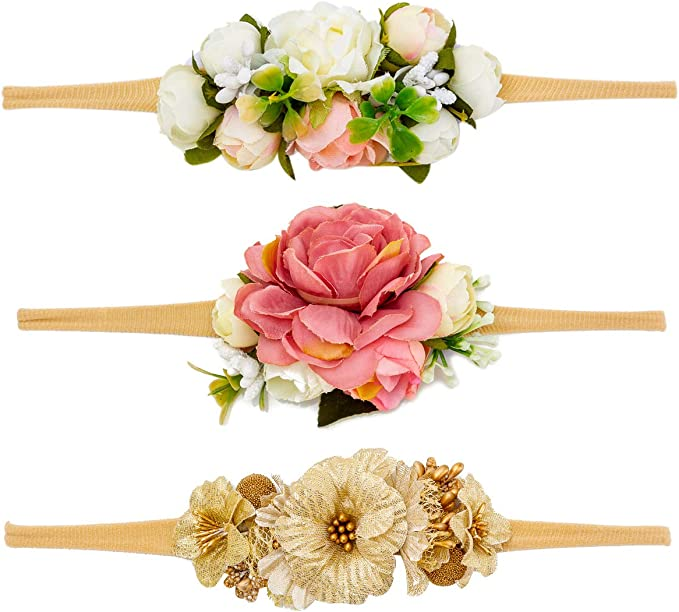Baby Girls Flower and Bow Headbands Floral Hair Bands Soft Nylon Elastic for Infants Newborn Toddlers by JIAHANG