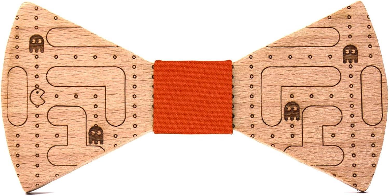 Territorial Holzfliege Pacman M/änner Kollektion: Linie Hochzeiten und andere Ereignisse Handgefertigt Fliege aus Holz mit Arcade-Spiel Muster schickes und originelles Geschenk