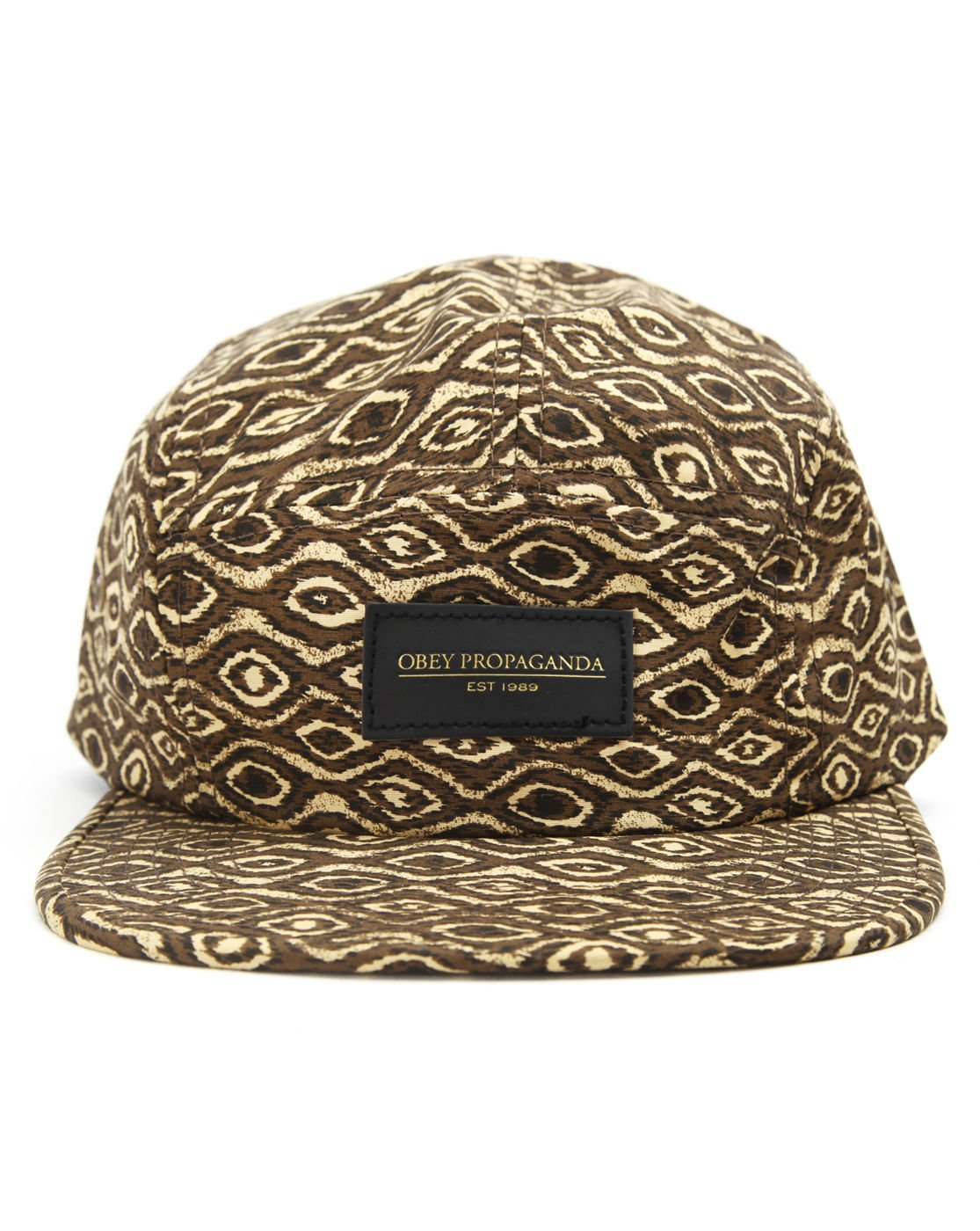 Amazon.com  Obey Trippy 5 Panel Brown Tan All Over Print Web Strap-back  Volley Men s Hat  Sports   Outdoors 70ce0bcaf3a3