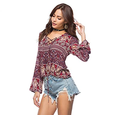8afe7ea9232 Elegant Floral Print Loose T-Shirt Women V-Neck Lace up Tee Casual T