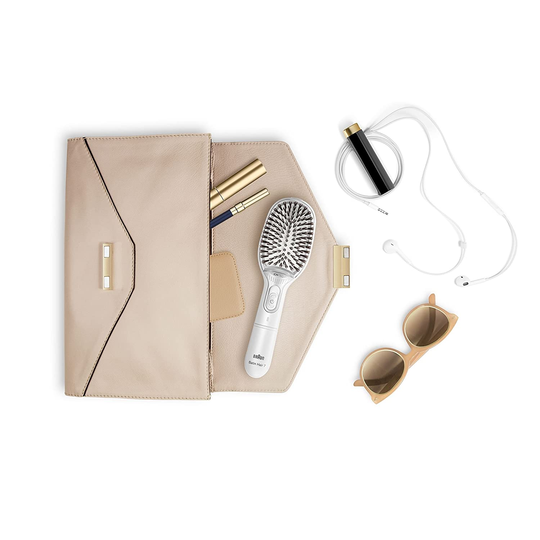 Braun Satin Hair 7 BR750 - Cepillo de pelo con cerdas naturales, cepillo alisador de pelo con tecnología iónica para realzar el brillo del cabello, ...