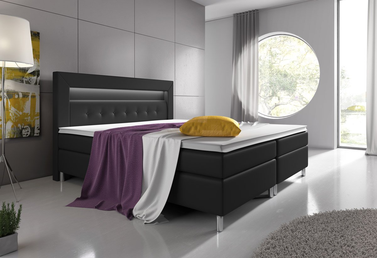 boxspringbett 160x200 schwarz mit visco topper 7 zonen. Black Bedroom Furniture Sets. Home Design Ideas