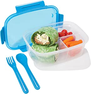 Oggi Chill To Go Food Container Lunchbox Set - Includes Fork, Spoon, 2 Side Containers and Removable Freezer Pack-Blue