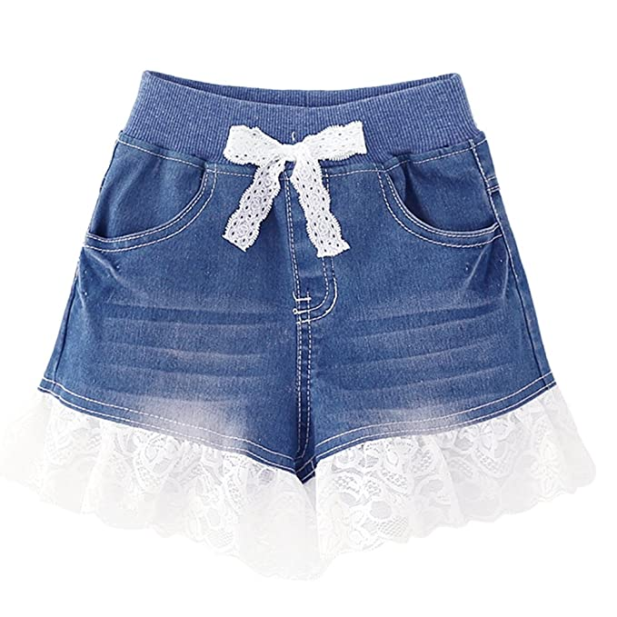 10eb672b3b Rrimin Girl's Denim Little Toddler Lace Shorts Jeans/Short Pants ...