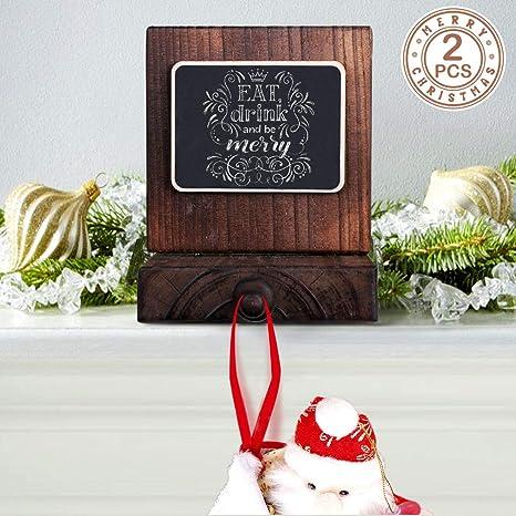 Christmas Stocking Holder.Partytalk 2pcs Wooden Christmas Stocking Holder For Mantle Or Fireplace Diy Rustic Chalkboard Stocking Hanger For Christmas Holiday Home Decor