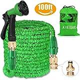 Aibiduo Tuyau d'arrosage extensible Tuyau d'arrosage 30,5m {amélioré} Magic Eau Tuyau d'arrosage double cœur en latex avec fixations en laiton massif et à Buse de pulvérisation (Vert)