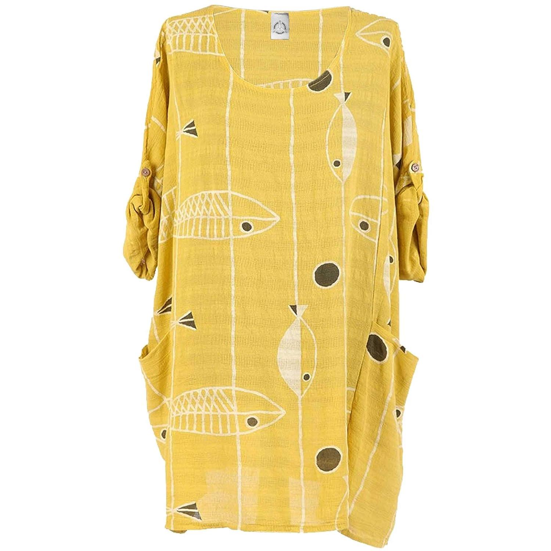 99cc0ee0532f9 Storm Island Italian Ladies Lagenlook Fish Print Top Women Tunic Dress  Classy Plus Size