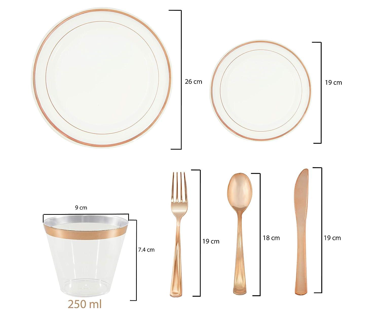 Lot de 150 assiettes jetables dor/ées en plastique argent/é pour f/êtes No/ël - 25 invit/és mariages rose gold d/îners