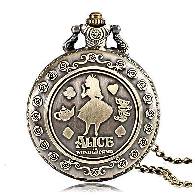 Reloj de bolsillo, diseño de Alicia en el país de las maravillas de Lewis Carroll, Z2: Amazon.es: Joyería