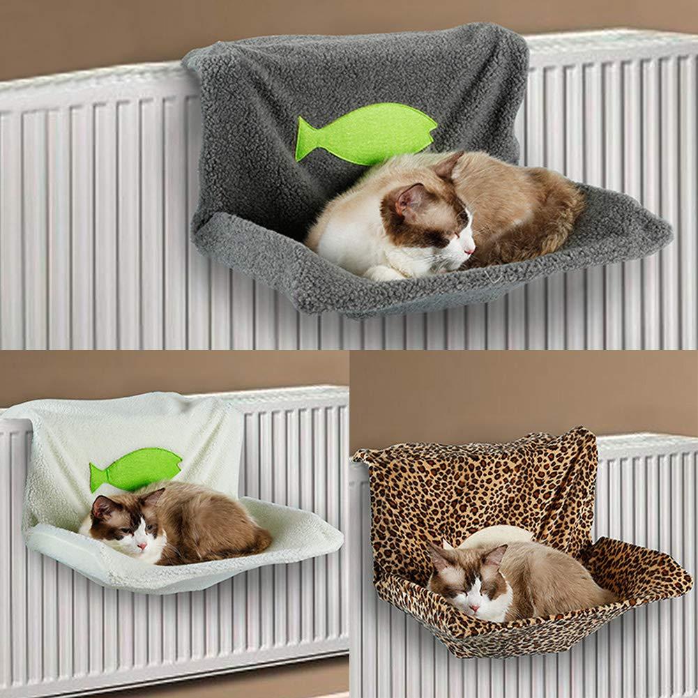 SDYDAY Cama de radiador para Gato, Lana de Cordero Artificial, Resistente y Duradera, Estilo Hamaca, para radiador, Cama Lavable, Cesta para Cachorro de ...