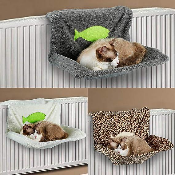 SUPEWOLD Cama de radiador para Gatos y Mascotas, cálida Cama de Cordero Artificial, Hamaca Colgante para Perro, Hamaca para radiador, Cuna Lavable, ...