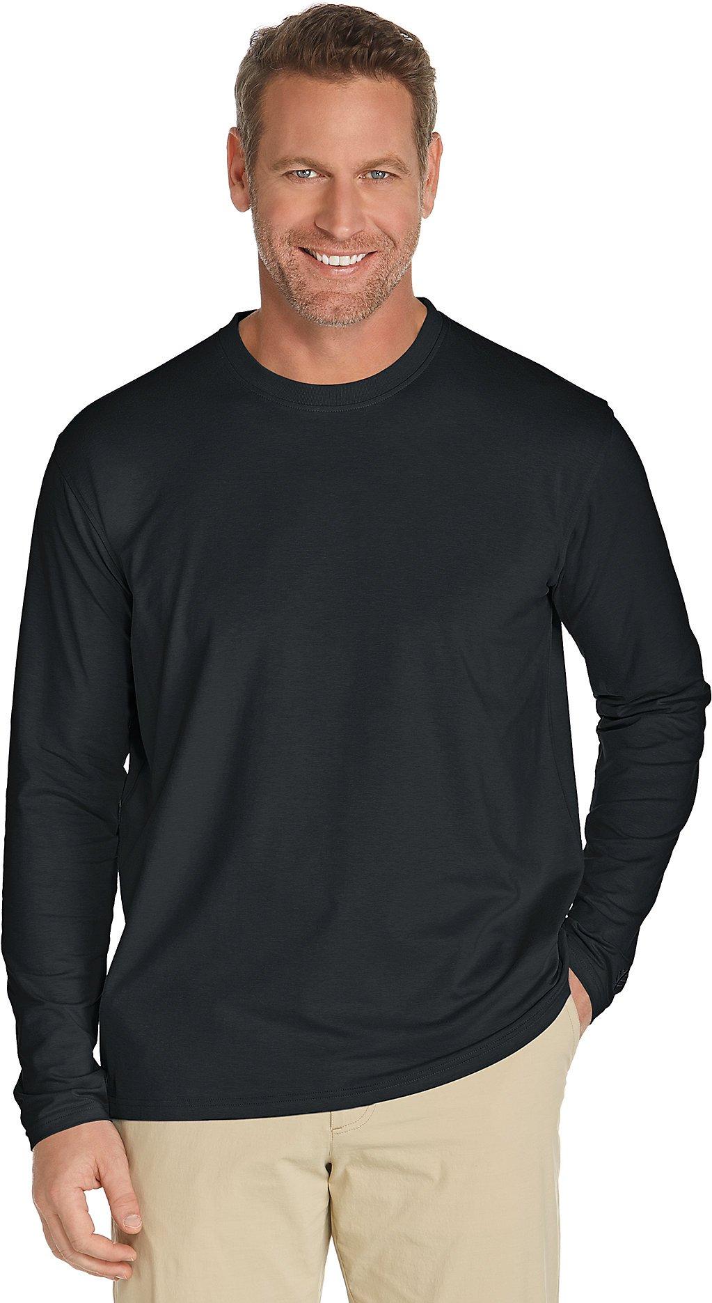 Coolibar UPF 50+ Men's Long Sleeve Everyday T-Shirt - Sun Protective (XX-Large- Black)