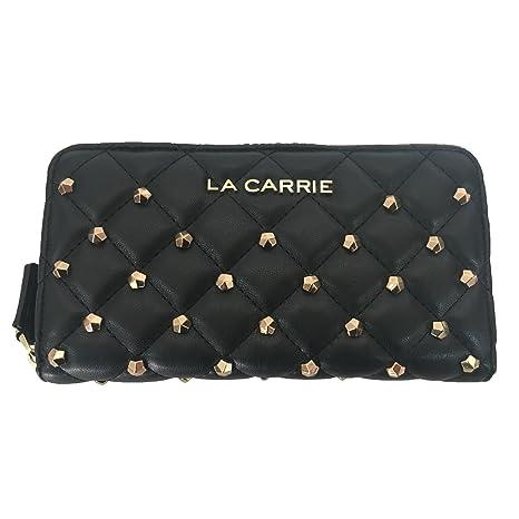 taglia 40 97a97 45501 LA CARRIE BAG portafoglio donna nero con borchie oro mod ...