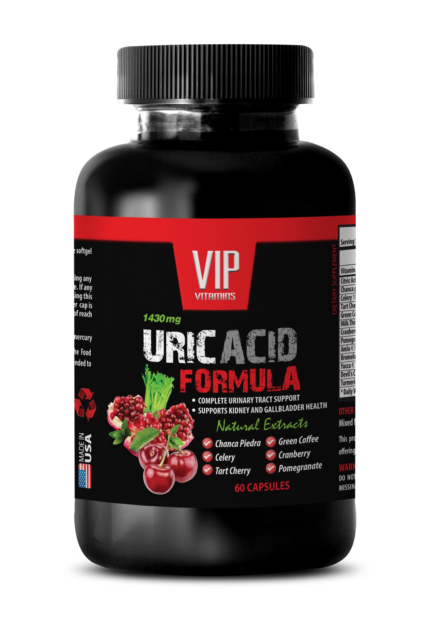 Kidney detox - URIC ACID FOMULA NATURAL EXTRACT 1430Mg - Astragalus, Birch Leaves, Buchu Leaves, Goldenrod, Horsetail - 1 Bottle 60 Capsules