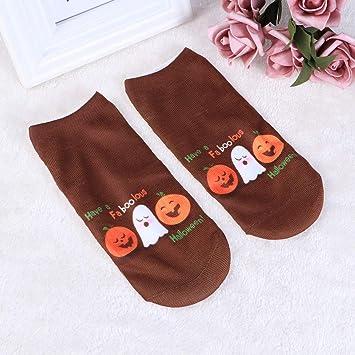 FENICAL 1 par de Mujeres Corte bajo Tobillo Calcetines Tema de Halloween Impreso elástico Antideslizante All Seasons Sneaker Calcetines Cortos (Calabazas y ...