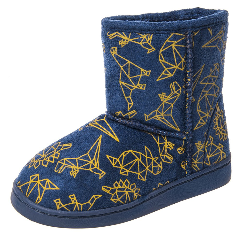MIXIN Boy's Indoor Outdoor Plush Winter Warm Comfy Slip on Anti Slip Snow Boots Slippers Booties Shoes Toddler Dark Blue Size 7 M