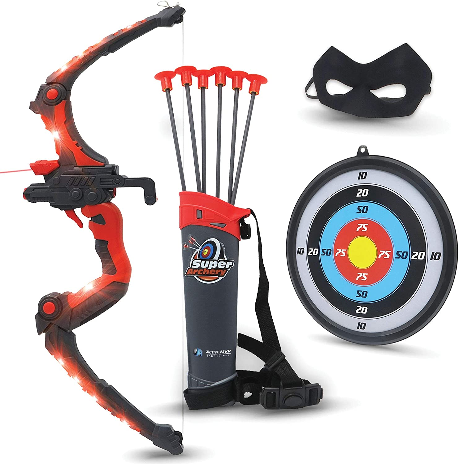 Bow and Arrow for Kids - Red Light Up Kids Archery Set with MASK, 6 Suction Cup Arrows, Target, 3-Belt Quiver - Indoor Outdoor Boys Toys - Gift for Kids Girls Children Age 3 4 5 6 7 8 9 10-12 Year Old