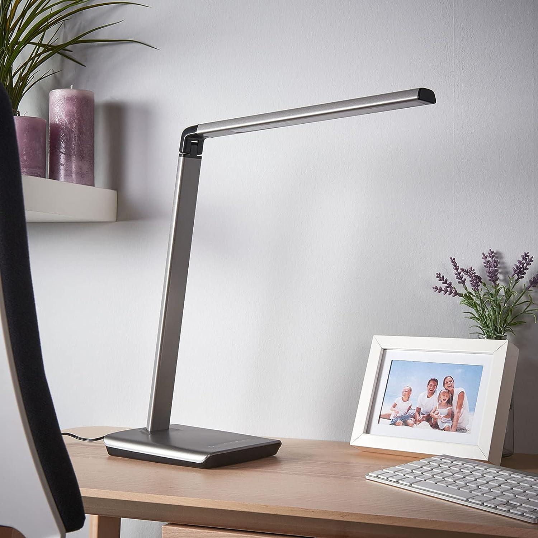 LED Lámpara de mesa Kuno con estación de carga USB (Moderno) en Gris hecho de Plástico (1 llama, A+) de Lindby   lámpara de mesa LED