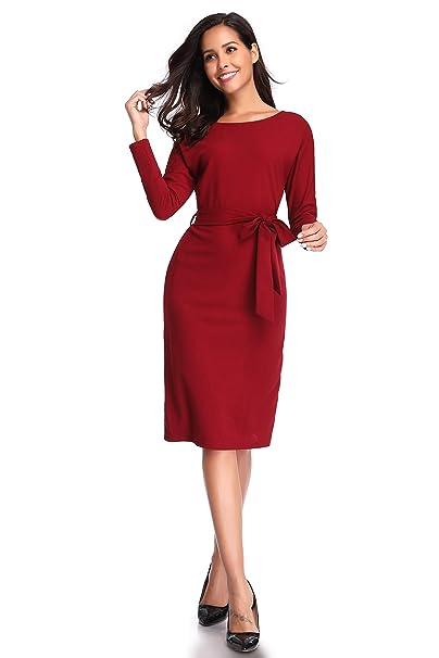 c463953ab kefirlily Mujer Elegante Vestido con Cinturón hasta la Rodilla Manga Larga  con Cuello en V Vestido de Noche Vestido de Fiesta  Amazon.es  Ropa y  accesorios