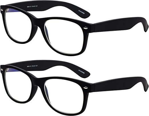 Yogo Vision Blue Light Blocking Computer Glasses for Men Women Anti Eyestrain, Spring Hinge Retro Design Readers for TV, Tablet and Smartphone, Pouch Included 2Pk Black and Black [並行輸入品]