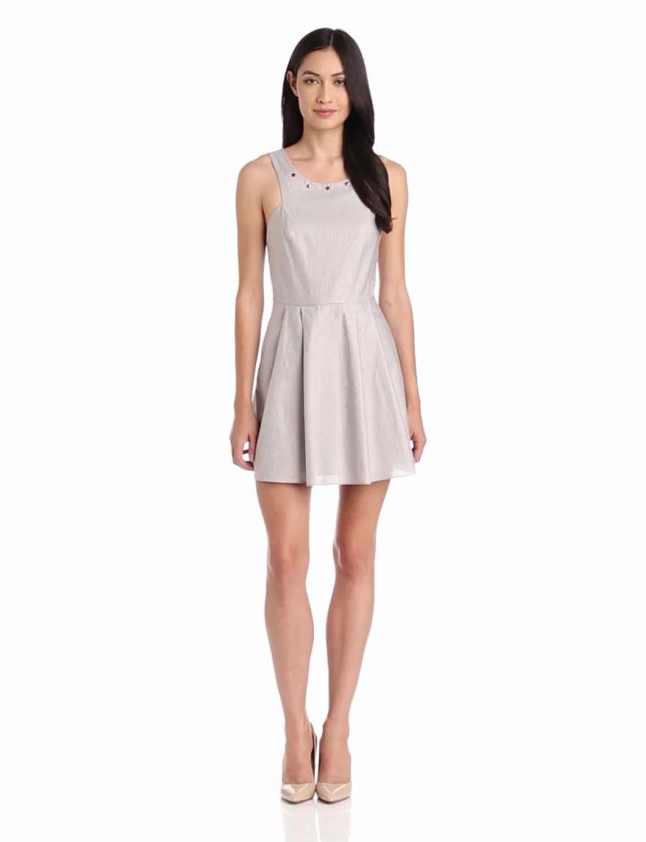 BCBGeneration Womens Stud Neck Dress, Light Grey, 6