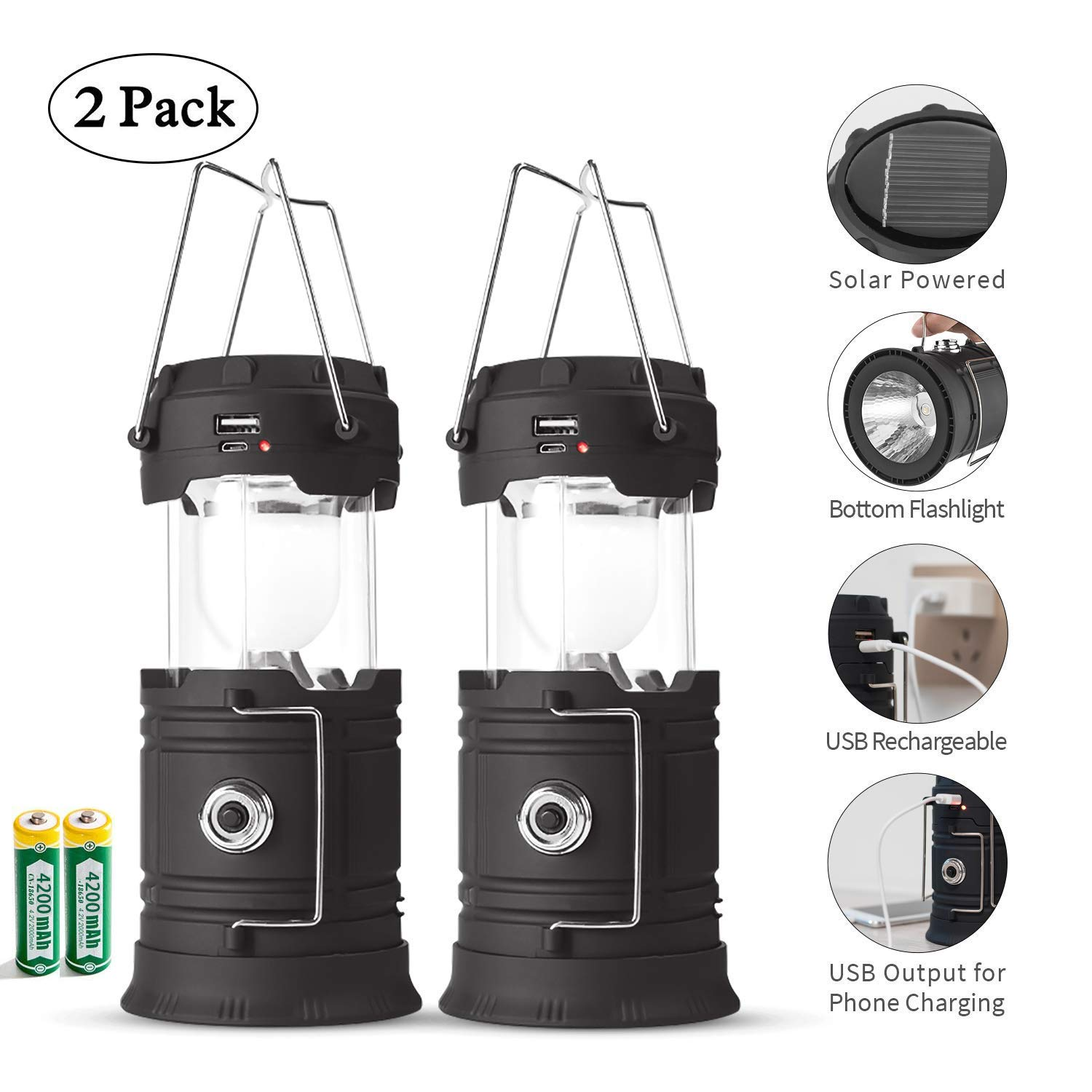 Rechargeable LED Camping Lantern USB,COB Lantern Flashlight 2 Power Supply Modes Survival Kit for Emergency, Hurricane, Power Outage(2 pack) by Lyricall