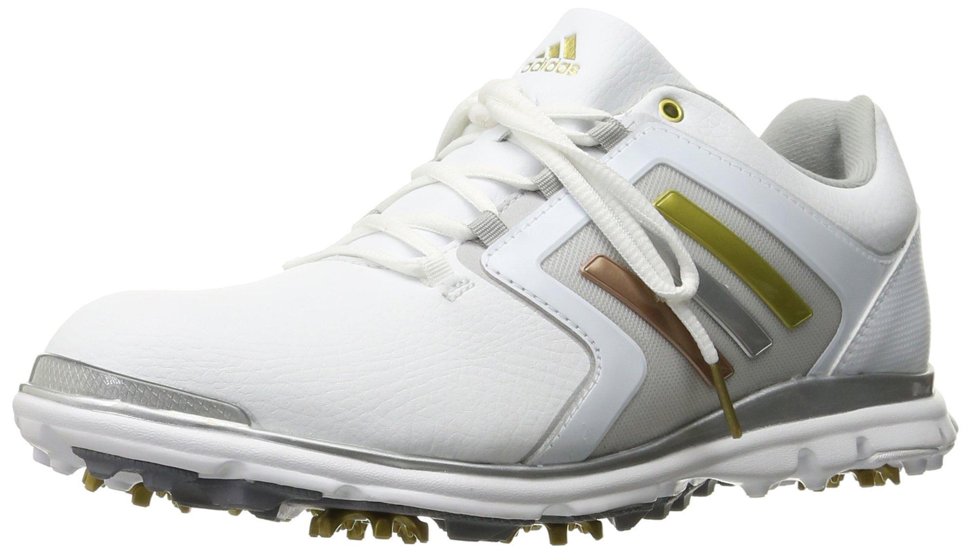 adidas Women's adistar Tour 6-spike Golf Shoe, Fatwa White/Silver Metallic/Gold Metallic - 9 B(M) US